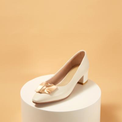 White Leather Almond Toe Chunky Heel Women's Pumps