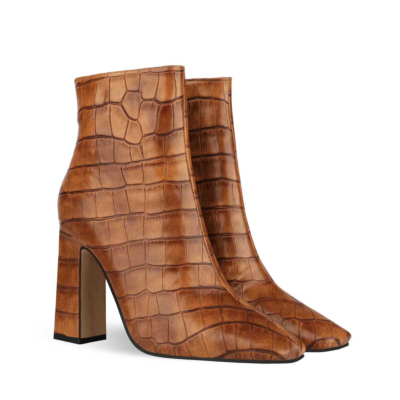 Aligator Printed Block Heel Dress Ankle Boots