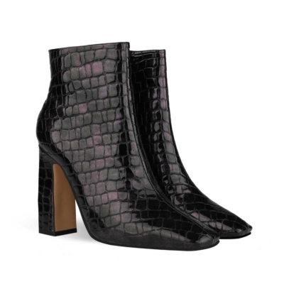 Black Aligator Printed Square Toe Block Heel Dress Ankle Boots