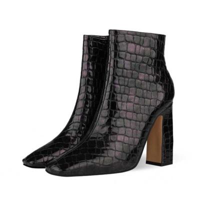 Aligator Printed Block Heel Dress Ankle Boots