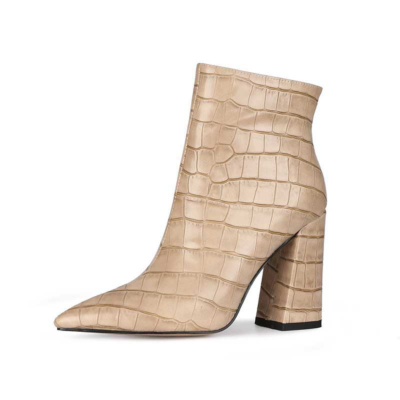 Beige Aligator Printed Pointy Toe Block Heel Dress Ankle Boots