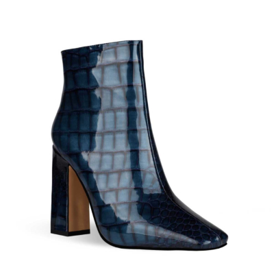 Blue Aligator Printed Square Toe Block Heel Dress Ankle Boots