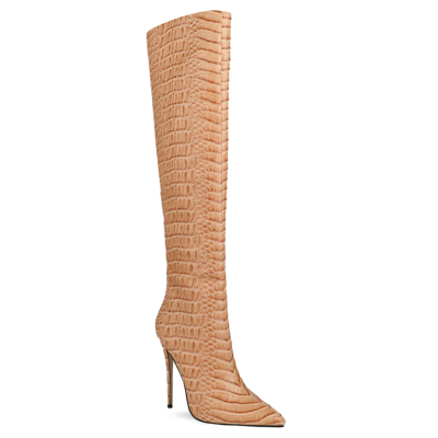 Apricot Alligator Embossed Sexy Over the Knee High Heel Boots