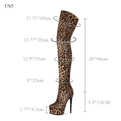 Animal-printed Platform Stietto Heel Over The Knee Boots