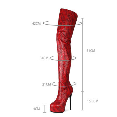 Red Snake-printed Platform Stietto Heel Over The Knee Boots