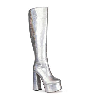 Silver Metallic Croc-Print Platform Tall Boots Knee High Boots