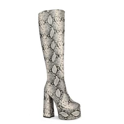 Python Embossed Platform Tall Boots Knee High Boot
