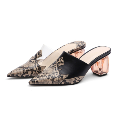 Animal Prints Pointed Toe Mules Clear Block Low Heel Shoes