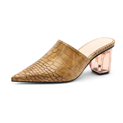 Brown Croc Embossed Pointed Toe Mules Clear Block Low Heel Shoes