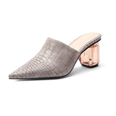 Grey Croc Effect Pointed Toe Mules Clear Block Low Heel Shoes