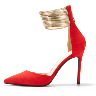 Red Ankle Strap Heels Stiletto D'orsay Dresses Pumps with Back Zipper