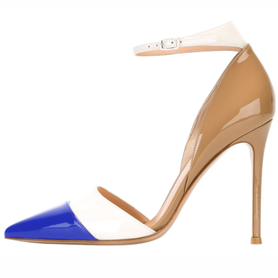 Blue and Nude High Heels 5 inch Work Shoes D'orsay Stilettos Pumps with Ankle Strap