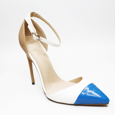 High Heels 5 inch Work Shoes D'orsay Stilettos Pumps with Ankle Strap