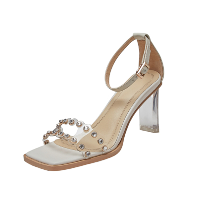 Silver Ankle Strap Sequined Sandals Crystals Transparent Heel Wedding Sandals