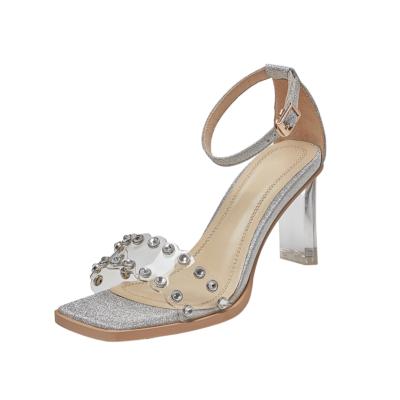 Ankle Strap Sequined Sandals Crystals Transparent Heel Wedding Sandals