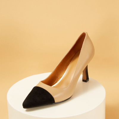 Genuine Leather Pointy Toe Spool Heel Office Pumps