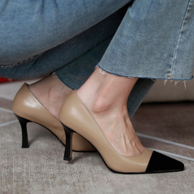 Apricot Genuine Leather Pointy Toe Spool Heel Office Pumps