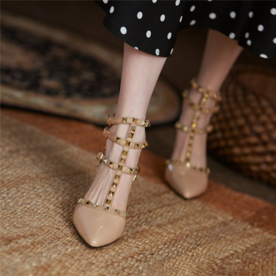 Nude Backless Rivet Pumps Studded T-Strap Wrappy Sandals Shoes with Low Heels