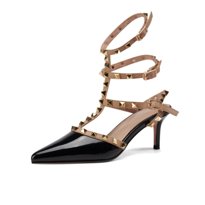 Black Backless Rivet Pumps Studded T-Strap Wrappy Sandals Shoes with Low Heels
