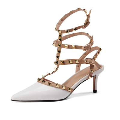 Backless Rivet Pumps Studded T-Strap Wrappy Sandals Shoes with Low Heels