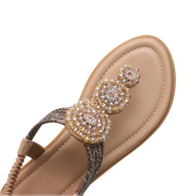 Beach Bohemia Rhinestones Beads Ankle Strap Flat Flip Flops