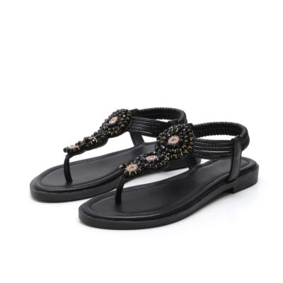 Black Beach Bohemia Rhinestones Beads Ankle Strap Flat Flip Flops