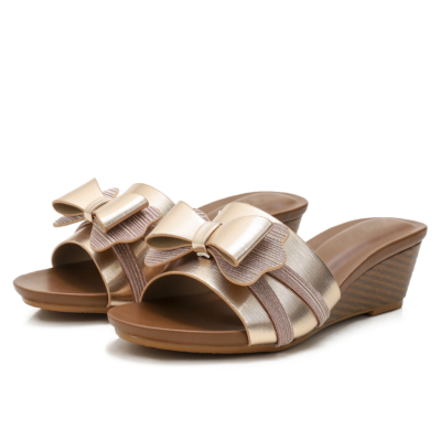 Champagne Beach Metallic Bowknot Comfort Slide Wedge Sandals