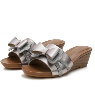 Beach Metallic Bowknot Comfort Slide Wedge Sandals