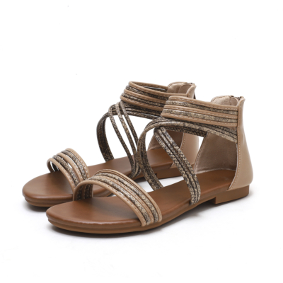 Apricot Beach Snake Printed Flat Gladiator Sandals with Back Zipper