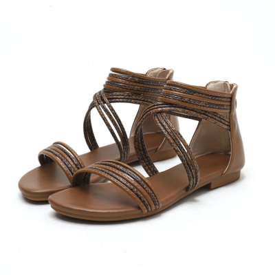Brown Beach Snake Printed Flat Gladiator Sandals with Back Zipper