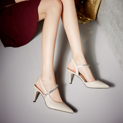 Beige Genuine Leather Pointed Toe Rhinestone D'orsay Slingback Stilettos Sandals