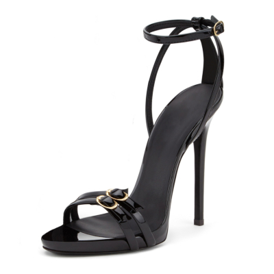 Black 5 inch Stiletto High Heel Buckle Sandals with Ankle Strap