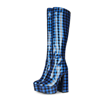 Black and Blue Checkered Chunky heel Knee High Boot
