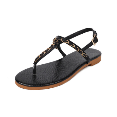 Black Ankle Strap Flip Flap Sandals Flat Thong Sandals With Chain