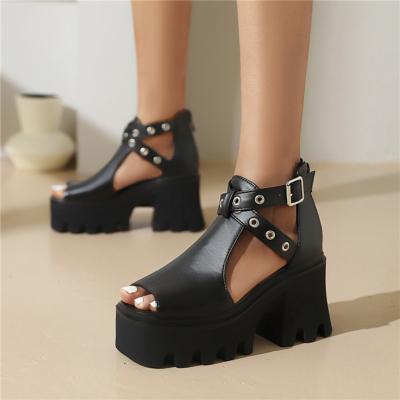 Black Cross Strap Chunky Platform Sandals Peep-Toe Stud Cut Out Shoes
