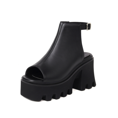 Black Goth Boots Open Toe Backless Punk Chunky Platform Heel Shoes