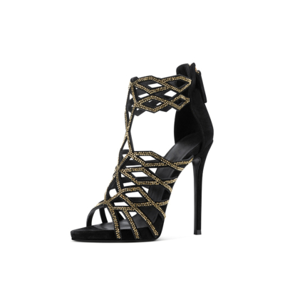 Black Hollow Out Party Sandals Crystal Embellished Stiletto Heels with Back Zipper