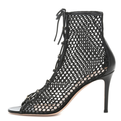 Black Lace Up Mesh Open Toe Party Boots Sandals Stiletto High Heels