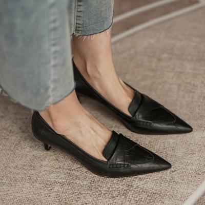 Black Leather Croc Embossed Office Low Heel Pumps