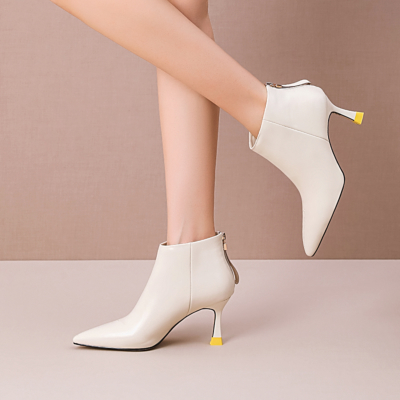 White Leather Spool Heel Back Zipper Office Stiletto Ankle Boots