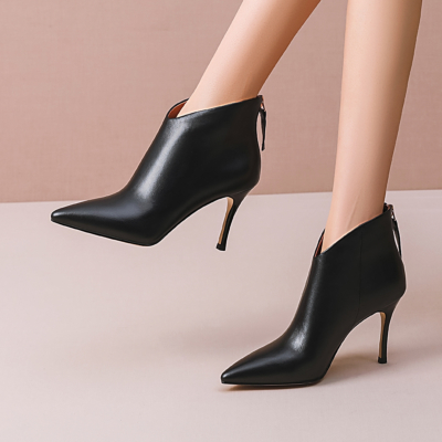 Black Leather V-Vamp Zip Stiletto Ankle Boots Dress Shoes