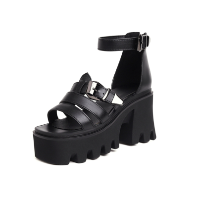 Black Open Toe Chunky Platform High Heeled Sandals Strappy Buckle Shoes