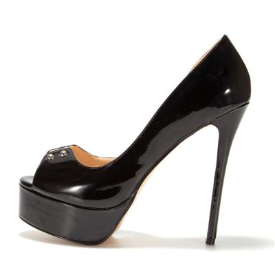 Black PU Peep Toe Platform D'orsay Pumps Rivets High Heel Shoes Sandals