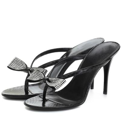 Black Rhinestones Bowknot Sandals Stiletto Heels Flip Flops 2021