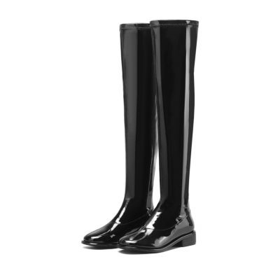 Black Round Toe Flat Boots Comfortable Patent Leather Thigh High Boots Flats