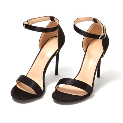 Black Satin Open Toe Ankle Strap Buckle Bridal Heeled Sandals