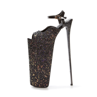 Black Sequined Platform Killer Heel Ankle Strap Glitter Shoes for Night Out