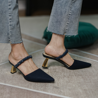 Black Slingback Pumps Pointed Toe Mid-heel Mules