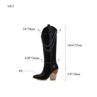 Snake-effect High Heel Cowgirl Boots Knee High Boots