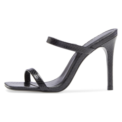 Black Snake Print Double Strap Slip On Mules Sandals Heels